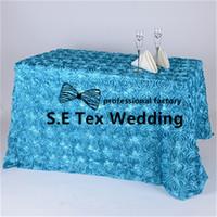 manteles de boda amarillo al por mayor-Bonita Mirada Rectangular Satin Rosette Table Cloth \ Mantel de la boda para la decoración del evento del partido