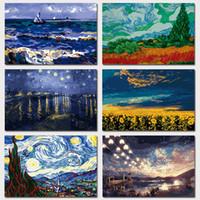 Wholesale fine oil paintings for sale - Group buy Van Gogh Seascape Cypress Wheat Fields Nile River Sunflower Vast Starry Sky Fireworks Fine Art Giclee Canvas Print