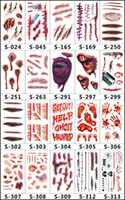 Wholesale halloween masks scars resale online - Halloween Party Temporary Tattoos bloody scar Tattoo stickers waterproof men and women Lasting simulation bleeding False injury DHL