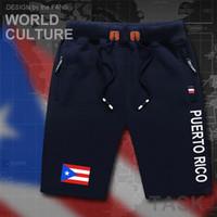 Wholesale skinny sweat shorts men - Puerto Rico mens shorts beach man men's board shorts flag workout zipper pocket sweat bodybuilding 2017 cotton NEW Rican PRI PR