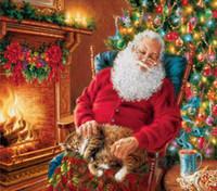 ingrosso dipinti ad alba astratti-Full Drill 5d Diamond Painting-Christmas Santa Claus 6 - Artigianato artistico per la decorazione della parete domestica Festival Regalo Kit di pittura diamante fai da te