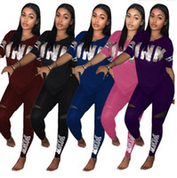 Wholesale ladies tennis clothes - Love Pink Women Tracksuits Sport Suits Summer Women Clothing Set V-neck Tshirts Pink Letter Print Tshirts Ladies Clothing MMA312 10pcs