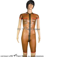 Wholesale sexy green catsuit online - Transparent Brown With Red Trims Sexy Latex Catsuit With Short Sleeves Front Zipper Rubber Bodysuit Zentai Overall Body Suit LTY