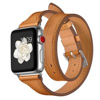Wholesale extra watch online - For Apple Watch mm mm Genuine Leather Band Watch Strap Watchband Double Tour Watch Belt Bracelet Business Man Woman Extra Long