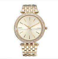 marke uhren diamanten großhandel-Neue marke berühmte elegante designer damen kleid golduhren diamant Armband relogio feminino hochwertige strassuhr für damen tops