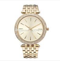 фирменные часы бриллианты оптовых-Новый бренд известных элегантных дизайнеров женские платья золотые часы с бриллиантами Браслет relogio feminino высокого качества Rhinestone часы для женских топов