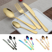 Wholesale kitchen utensil set for sale - Stainless steel Gold Flatware Sets Spoon Fork Knife Tea Spoon Dinnerware Set Kitchen Bar Utensil Style Sets WX9