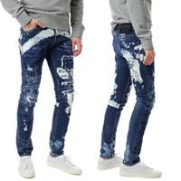 kot pantolon düğmeleri toptan satış-Erkekler Sıkıntılı Graffiti Düzenli Biker Jeans Düğme Fly Baskı Ripped Sıska Fit Boyalı Baskılı Denim Pantolon