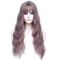"frauen synthetische hitzebeständige perücken groihandel-26"" Long Womens Wigs With Bangs Heat Resistant Synthetic Kinky Curly Wigs For Women African American Free Shipping"