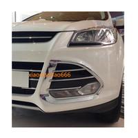 ingrosso parti del cappuccio-Per Ford Kuga 2013 2014 2015 2016 Car fendinebbia anteriore lampada rivelatore telaio stick styling ABS Chrome cover trim cappe parti 2 pz