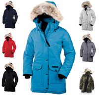 manteau canada marque achat en gros de-Livraison gratuite Nouvelle marque Canada femmes duvet d'oie Bomber à capuche manteau chaud de fourrure en plein air parka coupe-vent