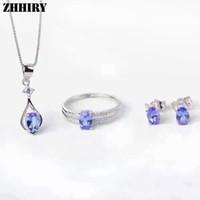 ожерелье из ожерелья оптовых-Женщины природный синий танзанит камень ювелирные наборы подлинной стерлингового серебра 925 тонкой кольцо серьги кулон ожерелье ZHHIRY