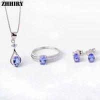 sterling yüzükler doğal taşlar toptan satış-Kadınlar Doğal Mavi Tanzanit Gem taş Takı Setleri Hakiki 925 Ayar Gümüş Ince Yüzük Küpe Kolye Kolye ZHHIRY