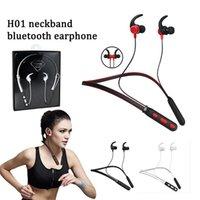 dois fones de ouvido venda por atacado-H01 neckband magnético em fones de ouvido fones de ouvido sem fio bluetooh estéreo sem fio inteligente de condução de dois para celular inteligente com pacote
