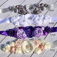 tecido flor faixa venda por atacado-Novos Miúdos Flor Cinto Menina Mulheres Strass Padrão Faixa De Tecido Cinto De Sash Wedding Vestidos de Flores Cintos Cinto Decorativo das Crianças