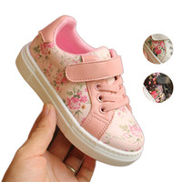 Wholesale walker shoes sneakers for sale - Baby Girls Floral Sneakers Infant Toddler Casual Shoes PU Leather Rubber Outsole Walking Shoes First Walkers Birthday Gifts