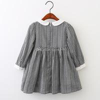 siyah bebek bebek elbisesi toptan satış-Ins pamuk bebek kız siyah ve beyaz kafes elbise sevimli Bebek yaka uzun kollu kafes Pilili etek H140