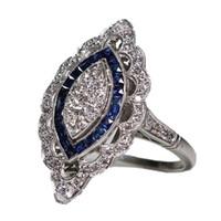 anillos de compromiso de zafiro vintage al por mayor-Único anillo de plata de la vendimia Blanco Azul Zafiro Diamante Compromiso de cumpleaños Cóctel Anillos de la banda de boda Tamaño 6 - 10 AB * 3988