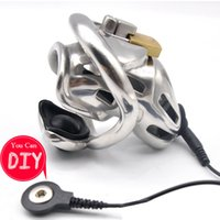 Wholesale diy male catheter resale online - New Design Stainless Steel DIY Whole Electric Chastity Device Sex Toy A370 SS
