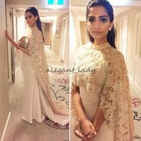 indische neue kleider großhandel-2018 New Sonam Kapoor Kleider Abendgarderobe Mit Langen Wickelapplikationen Elegante Arabische Dubai Kaftan Indische Prom Party Promi Kleider Vestidos