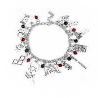 Wholesale Baseball Antiques - Antique Silver Suicide Squad Harley Quinn Baseball Bat poker Charm Bracelet Collection Bracelet Bangle Cuff Wristband for Women Jewelry gift