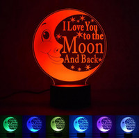 Wholesale table bedside lamp nightlight - Moon Table Lamp 3D I Love You To The Moon And Back Nightlight LED Baby Sleeping Lighting Bedroom Bedside Night Light Decor Gifts OOA4092
