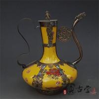 ingrosso porcellana antica-Creativo Flagon Teiera Home Decor Ornament Gift Collezione di oggetti d'antiquariato Exquisite Antique Tibet Argento Porcellana verde Artigianato artistico 55yz