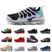 Wholesale chocolate packing - 2018 NEW Vapormax TN Plus White Silver Black Sports Shoes For aIrs Tn Running Male Pack Triple Men Cheap Basket Requin off Casual Chaussures
