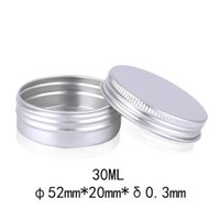 Wholesale silver cosmetic jars - 300pcs lot 30ml silver metal aluminum cosmetic jar, 30g Solid Perfume Cosmetic Sample Packaging Cans LX2396