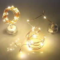 gece perileri toptan satış-10 20 LED DIY Işık Dize Dalgıç Şişe Bakır Peri Twinkle Şerit Tel Açık Parti Dekorasyon Yenilik Gece Baz Lambası