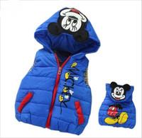baby vest toptan satış-Büyük indirim ! Bebek çocuk sonbahar / kış moda karikatür Eiderdown pamuk yelek Çocuklar spor eğlence ceket erkek / kız rahat ceket