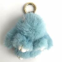 bolsos de piel azul al por mayor-Magicfur - 8 cm azul claro conejo de piel de visón real lindo conejito muñeca llavero bolso bolso coche llavero llavero colgante de teléfono