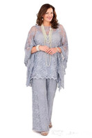 Wholesale mother groom summer wedding for sale - Group buy 2018 Lilac Lace Mother of the Bride Pant Suits Long Sleeves Three Pieces Formal Women Plus Size Wedding Groom Guest Gown