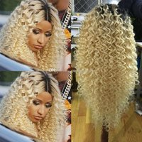 Wholesale 1b 613 front wig for sale - Long Kinky Curly Synthetic Lace Front Wigs Blonde With Dark Roots B Heat Resistant Fiber Natural Afro Curly For Women