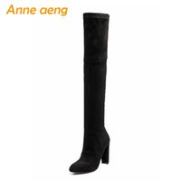 Wholesale thigh bands resale online - 2018 New Winter Women Over The Knee Boots High Heels Pointed Toe Elastic Band Sexy Women Shoes Black Thigh High Boots Big Size