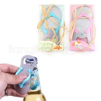 Wholesale stainless flip flop bottle opener - Beer Bottle Openers Stainless Steel Opener Flip Flop Slipper Cute Creative Household Kitchen Tool Wedding Favor Party Gifts GGA500 60pcs