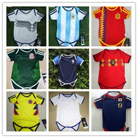Wholesale Clothing Stops - World Cup Baby soccer jersey Spain france Belgium Mexico Japan argentina germany soccer Jersey Sleeved Jumpsuit Bebé Triangle Climb Clothes