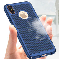 Wholesale pc water cooling fitting - New For Apple iPhone X Case Honeycomb PC Matte Back Cover Heat Dissipation Cooling Housing For iPhone X 6 6s 7 Plus Phone Cases