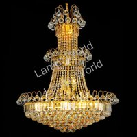 staircase chandeliers 2018 - Large Hotel Silver Crystal Chandelier Light Fixture Gold or Silver Lustre Hanging Light for Restaurant Lobby Staircase