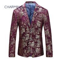Wholesale mens suit jacket pattern - Suit jacket for men For actor singer suit jacket for men High-quality jacquard fabric pattern stamping process Burgundy mens suits