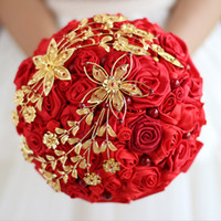 ingrosso pietre rosse cinesi-IFFO New Wedding Bride Holding Bouquet cinese Dragon Red Rose Gold Bouquet Rosso Coral Stone Wedding Bouquet