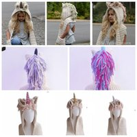 Wholesale crochet props online - Crochet Unicorn Winter Hat with Scarf Boys Girls Hooded Knitting Beanie Cosplay Photography Prop Hooded Capes Tassels Scarf hat KKA6121