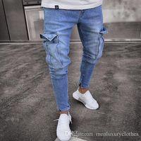 teenager mann hose großhandel-Teenager Kleidung Jeans Männer Designer Jogger Jean Große Taschen Design Bleistift Hose Zipper Biker Jeans