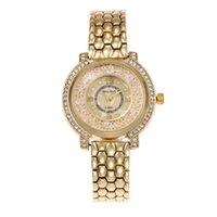 relojes de imitación de lujo al por mayor-Reloj de pulsera de cuarzo de aleación de acero de aleación de mujeres de lujo de doble fila de perforación pulsera de cuarzo de imitación de arena