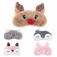 ingrosso maschere di cervi-Maschera di sonno occhio cervo di Natale per benda a pelo animale sveglio maschera di copertura dell'occhio cervi di natale inverno fumetto pisolino occhio maschera per dormire