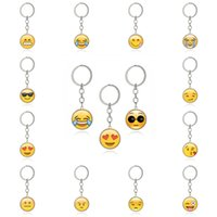 Wholesale face picture - Silver Color Multi Emoji Pictures Glass Cabochon Keychain Smile Face Key Chain Keyring Key Holder Jewelry Gift G40L