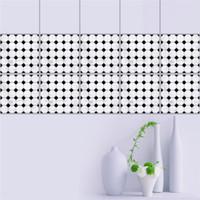 Gut Badezimmer Schwarze Fliesen Großhandel 20 * 20 Cm Schwarz Weiß Mosaiken  Selbstklebende Taille Linie Wandaufkleber