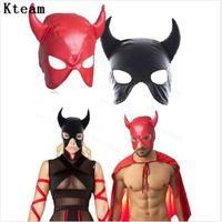 siyah güvenlik maskeleri toptan satış-Üst Sınıf Kırmızı Siyah Gece Kulübü Maskesi Cosplay Boynuz PU Deri Maske Başlık Başkanı Yüz Sınırlamalar Oyuncaklar yetişkinler ...