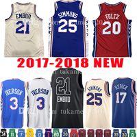 Wholesale adult jerseys - 2018 New Adult Mens 21 Joel Embiid 25 Ben Simmons Jersey 20 Markelle Fultz 3 Allen Iverson 17 J.J. Redick 2017-18 Basketball Jerseys