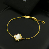 Wholesale flowers colored stones - Sell four leaf clover white shell black agate natural colored stone bead side bracelet copper plated hand single flower bracelet for women